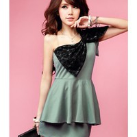 Green Bow One Should Cotton Dress@T2089gr