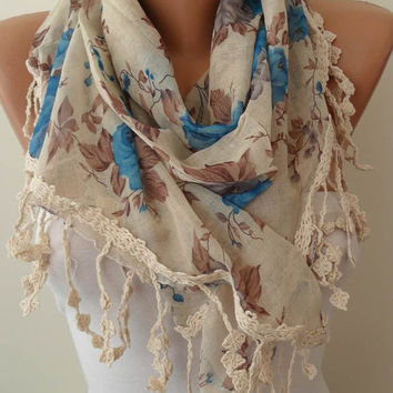 Vintage Style Linen Scarf - Blue and Beige Scarf with Trim Edge