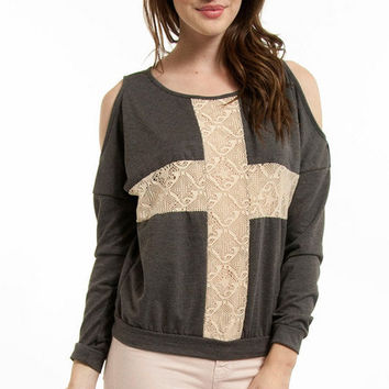 Lace Shadow Shoulder Cutout Sweater $21