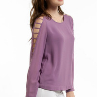 Chiffon Ladder Sleeve Top $36