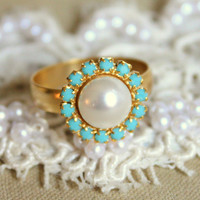 Pearl and Turquoise adjustable  ring - 14k plated gold adjustable ring real swarovski rhinestones .
