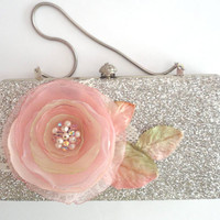 Glitter Silver Clutch Purse with Pink Flowers