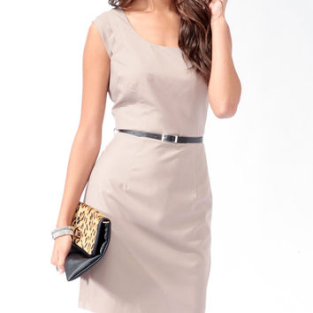 Pleated Sheath Dress w/ Belt