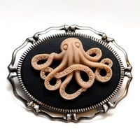 Ms. Octopoda - the traveler - Octopus Brooch Pendant Combo