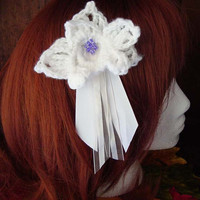 Womens Crocheted Beaded Ribboned White Orchid Hair Clip