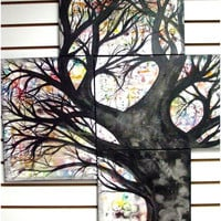 Love Tree Painting On Canvas -  Acrylic Rainbow Tree Of Life and Love w/ Free Shipping - Large Handmade Abstract Tree Silhouette Wall Art