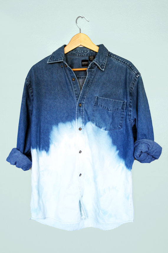 90s Grunge Unisex Dip Dye Ombre Bleached Denim Long Sleeve Shirt Top Oversized