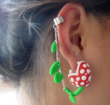Original Super Mario Piranha Plant Chomper Cuff Earring