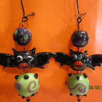 Halloween Batty Lampwork Glass Earrings