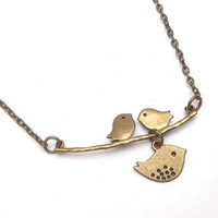 Antiqued Brass Three Bird Necklace