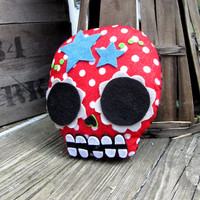 Sugar Skull Plush Pillow - Red Polka Dots and Stars