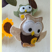 Hanging Nursery baby Mobile Owl family in sunflower by hingmade