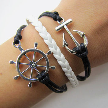 silvery anchor  rudder bracelet with black ropes white leather women jewelry bangle men leather bracelet  1281A