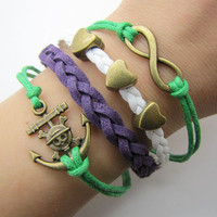bronze anchor infinity bracelet with green ropes white leather women jewelry bangle men leather bracelet  1282A