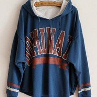 Bat SleeveLetter Hooded Sweater Blue$36.00