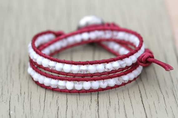 Beaded Leather Wrap Bracelet : Pink Punch. White, Crystal and Cyclamen Bohemian Double Wrap Bracelet - Friendship Bracelet