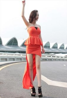 Unique Ruffles Irregular Dress(Red)