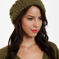 San Diego Hat Co. Pom Beret - Green Beret - $34.00