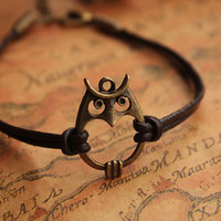owl bracelet,retro bronze lovely owl pendant bracelet,brown true leather bracelet---B024