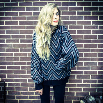 Repurposed / Recycled Vintage Grey Black Chevron Silver Metal Stud Collar Shoulder Oversized Sweater