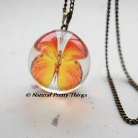 Butterfly Globe Necklace Orange Ball Nature Inspired Transparent Resin Ball Magical Fantasy
