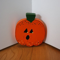 Halloween Pumpkin Wood Painted Shelf Sitter