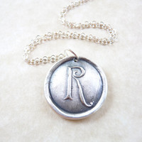 Personalized monogram wax seal initial necklace pendant jewelry hand made from recycled silver, custom made to order