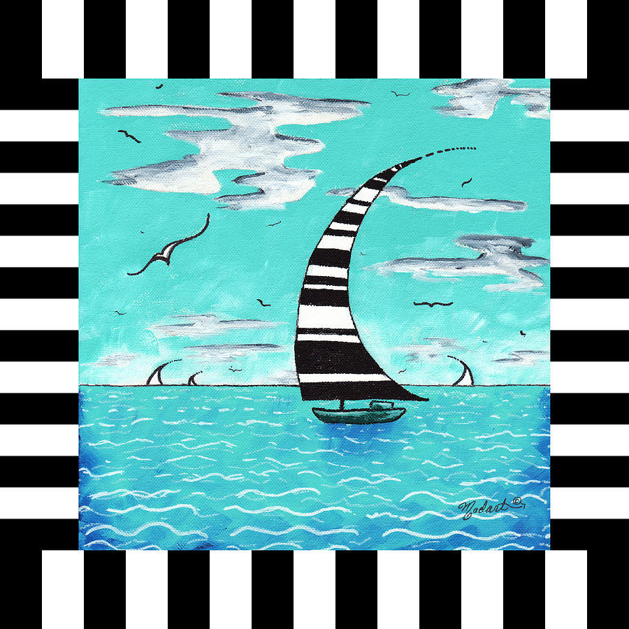 Abstract Art Original Nautical Stripes Sailboat Painting REFRESHING by MADART Painting by Megan Duncanson - Abstract Art Original Nautical Stripes Sailboat Painting REFRESHING by MADART Fine Art Prints and Posters for Sale