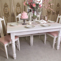 Bella French Farmhouse Dining Table in Bright White - $775 - The Bella Cottage