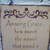 Rustic Primitive Sign &quot;AMAZING GRACE&quot; hymnal lyrics on primitive pine - Kitchen art, bedroom art