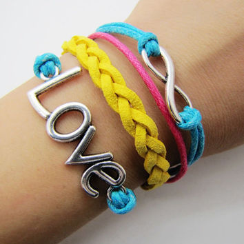 silvery infinity love bracelet women multicolor rope bracelet women jewelry bangle  1292A