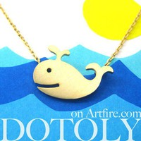 Dotoly | Cute Happy Whale Sea Animal Necklace In Gold - Allergy Free | Online Store Powered by Storenvy