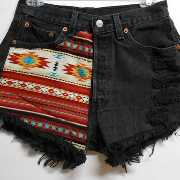 Vintage Levis 501 High Waist  Black  Denim Shorts Southwestern  Print  Waist  27.5     inches