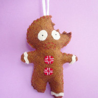 Gingerbread Man Christmas ornament, funny felt handmade Christmas tree decorations great for a laugh