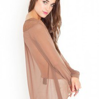 Laced Chiffon Blouse - Mocha - NASTY GAL