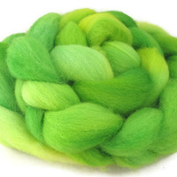 Hand Dyed Roving, Lime Green, Three Ounces