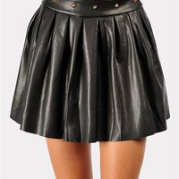 Tyler Leather Mini Skirt - Black at Necessary Clothing