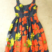 Floating Poppy Dress in Navy [2673] - $42.00 : Vintage Inspired Clothing &amp; Affordable Summer Dresses, deloom | Modern. Vintage. Crafted.