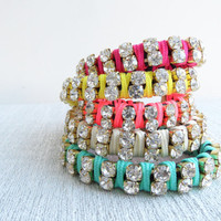 Neon friendship bracelets, neon jewelry, neon double wrap rhinestone bracelets, neon jewellery, colorful bracelets, neon accesories, present