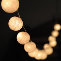 20 x white color cotton ball Bali string light patio outdoor decoration deco room bedroom wedding patio party Beach balcony
