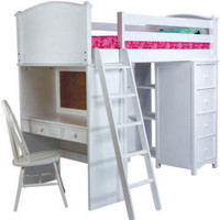 Grayson White Student Loft Bed