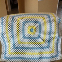 Granny Square Baby Blanket Blue and Yellow