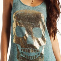 graphic-metallic-skull-top BLUE GOLD - GoJane.com