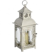 Antique Finish Glass Metal Candle Lantern