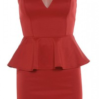 Red Sleeveless Bodycon Peplum Dress with Mesh Neckline