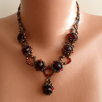 Burgundy Necklace - Wedding Necklace - Swarovski and Czech Cristal -Unique Design