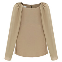 Chic Style Long Sleeve Cream Blouse [NCSHX0050] - $73.99 :