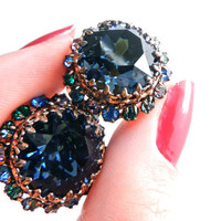 Vintage Blue Glass Stone Clip On Earrings - Gold Tone Rhinestone Costume Jewelry / Austrian Shine