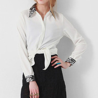 Black Lace Lapel White Shirt [NCSHI0291] - $42.99 :