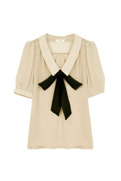 Feminine Bowknot Cream Shirt [NCSHZ0174] - $48.99 :